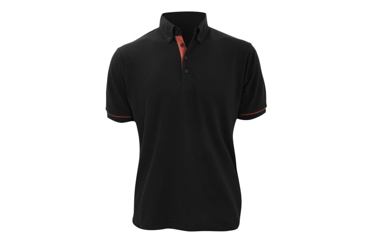 Kustom Kit Mens Button Down Contrast Short Sleeve Polo Shirt (Black/Red) (L)