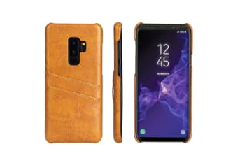 For Samsung Galaxy S9+ PLUS Yellow Deluxe Leather Back Wallet Case Slots Case