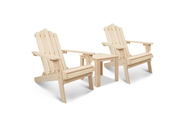 Adirondack Chairs & Side Table  3 Piece Set (Natural)