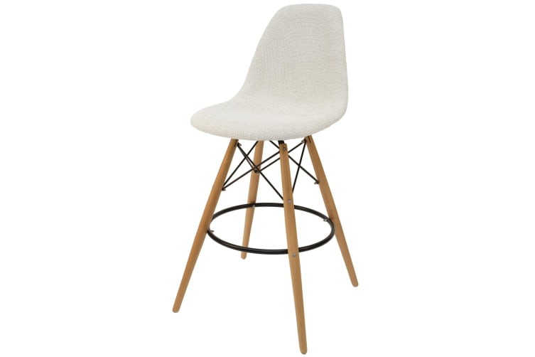 Replica Eames DSW Bar / Kitchen Stool | Ivory Fabric Seat | Natural Wood Legs