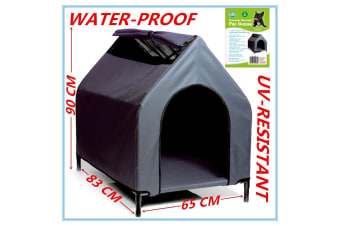 Grey Large Waterproof Pet House Portable Dog Bed Kennel Elevated Flea W