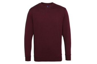 Asquith & Fox Mens Cotton Rich Twisted Yarn Sweatshirt (Burgundy/Black) (M)