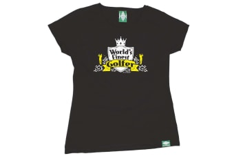 Out Of Bounds Golf Tee - Worlds Finest Golfer - (Large Black Womens T Shirt)