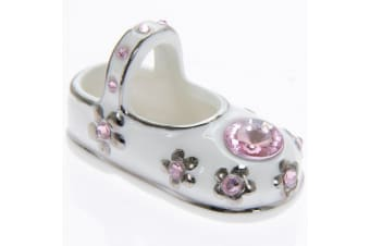 Diamante Baby Bootie Ceramic Ornament (Pink) (One Size)