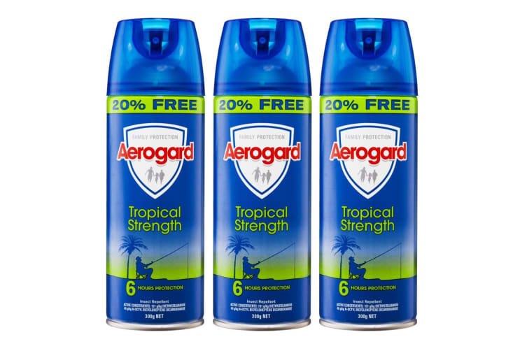 3PK Aerogard 300g Tropical Strength Flies/Insect Repellant Spray 6h Protection