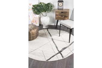 Amelia Bone Ivory & Grey Scandi Durable Round Rug 200x200cm