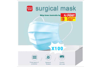 100 X Disposable Surgical Medical Face Mask Protective Masks 3 layers for Medical Dental Flu