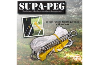 SUPA PEG CORNER RUNNER DOUBLE GUY ROPE TENT MARQUE ANNEX POLE HEAVY DUTY SPRINGS