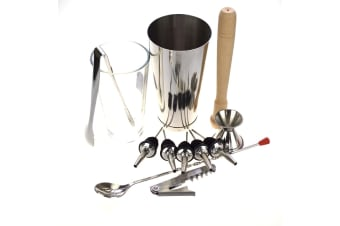 10 Piece Boston Shaker Set With A Free Waiters Friend And Ice Tongs