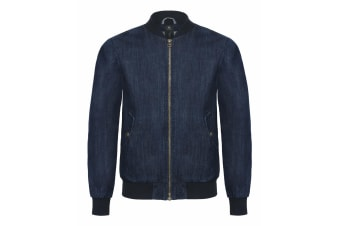 B&C Denim Mens Supremacy Denim Bomber Jacket (Deep Blue Denim)