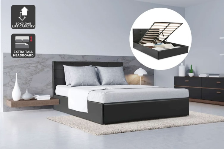 Ovela Bed Frame - Siena Gas Lift Collection (Black, Double)