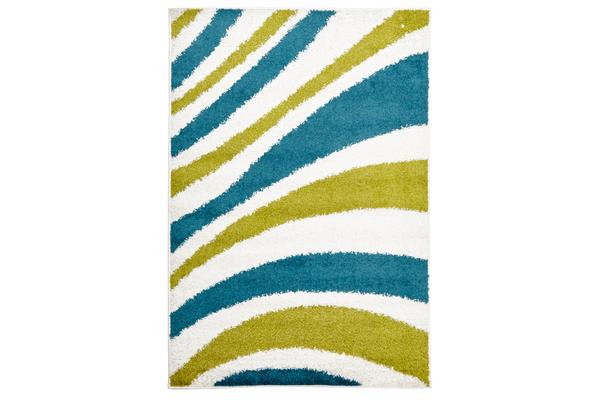 Burst Shag Rug Blue and Green 330x240cm