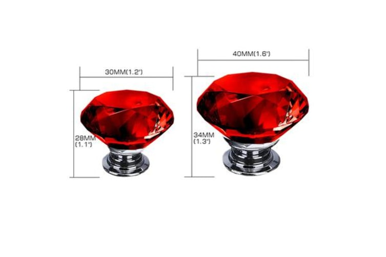 16 Pack 30mm Red Diamond Clear Crystal Glass Door Pull Drawer Knob