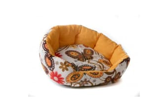 Michi Butterfly Dog Bed (White/Yellow/Brown)