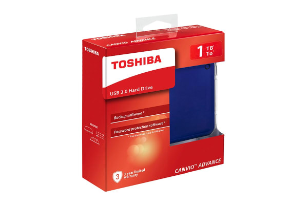 Toshiba Canvio Advance V9 USB 3.0 Portable External Hard Drive 1TB - Blue (HDTC910AL3AA)