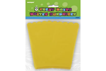 Unique Party Treat Boxes (Pack Of 8) (Yellow) (One Size)