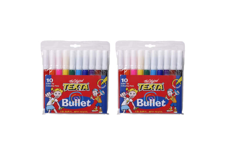2x 10pc Texta Bullet Tip Colouring Pens Drawing Art Marker Water Based f/ Kids
