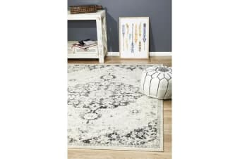 Hazel Charcoal & Grey Durable Medallion Rug 330x240cm
