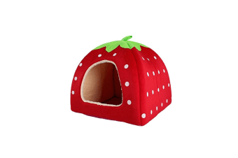 Strawberry Style Sponge House Pet Bed Dome Tent Warm Cushion Basket Red S