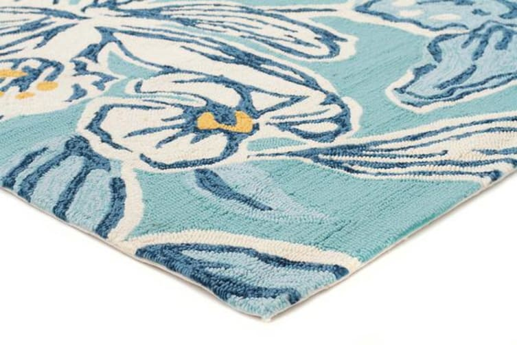 Whimsical Blue Floral Indoor Outdoor Rug 225x155cm