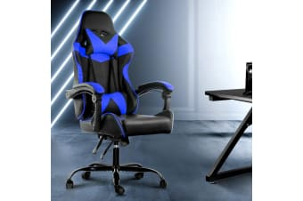 Artiss Gaming Office Chair Computer Chairs Leather Seat Recliner Black Blue