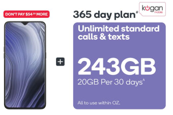 OPPO Reno Z (128GB, Jet Black) + Kogan Mobile Prepaid Voucher Code: LARGE (365 Days | 20GB Per 30 Days)