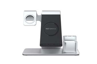 WJS 3 In 1 Wireless Charger Watch Charger For iPhone/Samsung/Huawei/Apple Watch-SILVER