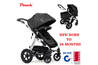 Pouch 2 IN 1 BABY TODDLER PRAM STROLLER JOGGER ALUMINIUM WITH BASSINET black colour