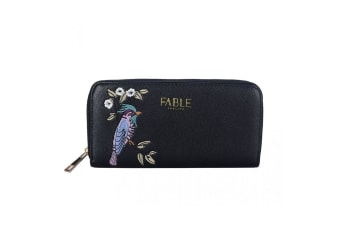 Fable Womens/Ladies Bird Embroidered Large Purse (Black)