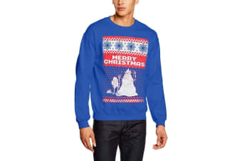 Adventure Time Unisex Adults Merry Christmas Design Crew Neck Sweatshirt (Blue) (XXL)