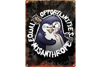 Psycho Penguin Equal Opportunities Mini Tin Sign (Black)