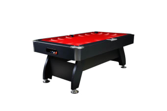 8FT Modern Design MDF Pool Table Snooker Billiard Game Table with LED Light Top with Accessories Pack,Black Frame / Red Felt