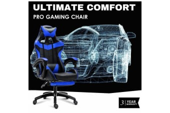 Ultimate Comfort Pro Gaming Chair Racing Office Chair Blue with Footrest
