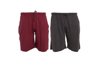 Tom Franks Jersey Lounge Shorts (2 Pack) (Wine/Dark Grey Marl) (MEDIUM)
