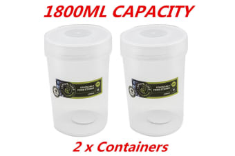 2 x 1800ml Screw Top Stack-able Plastic Food Storage Container Box Tubs Lid BPA Free