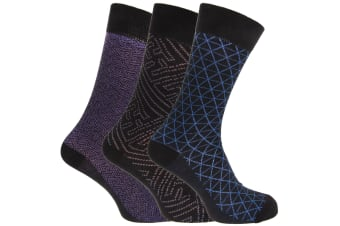 Angelo Cavalli Mens Abstract Patterned Elastic Top Socks (3 Pairs) (Blue Triangle) (UK 6-11)