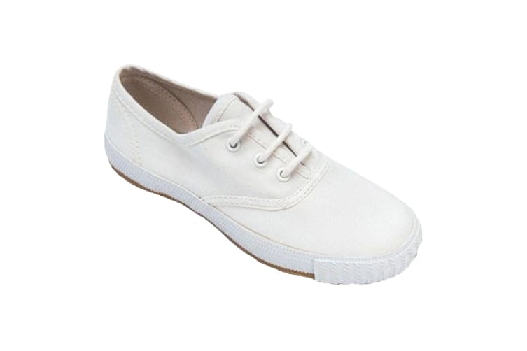Mirak 204/ASG14 Unisex Childrens Lace-Up Plimsolls / Boys/Girls Gym Trainers (White) (8 UK Toddler)