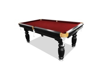 8FT Luxury Slate Pool Table Solid Timber Billiard Table Professional Snooker Table w/ Accessories Pack, Black Frame / Burgundy Felt