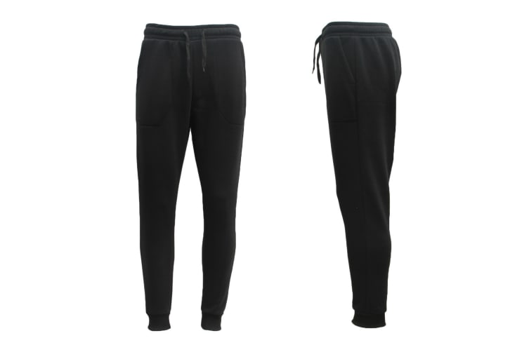 Mens Unisex Fleece Lined Sweat Track Pants Suit Casual Trackies Slim Cuff XS-4XL - Black