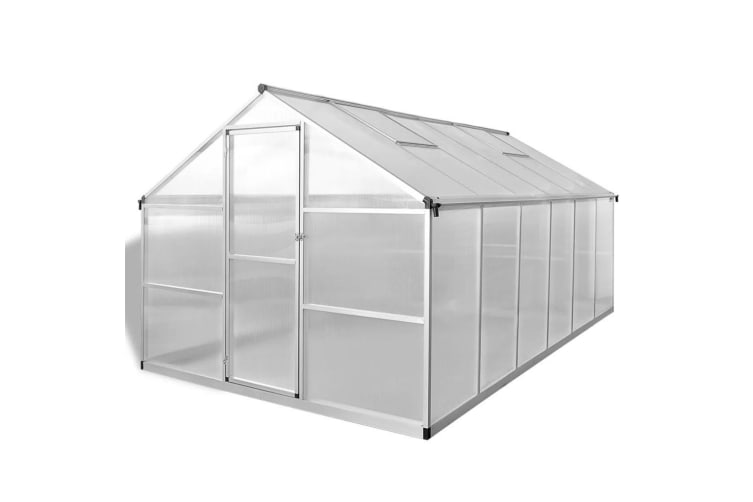 vidaXL Reinforced Aluminium Greenhouse with Base Frame 9.025 m²