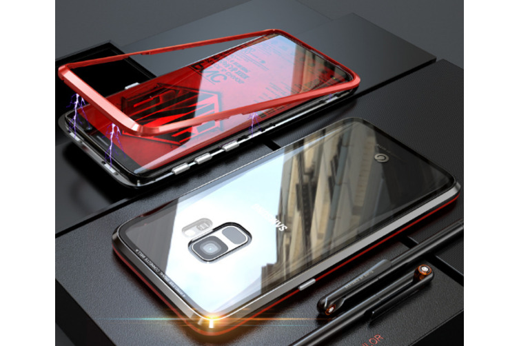Magnetic Adsorption Phone Case Metal Back Glass Cover For Samsung Galaxy Red Samsung S8