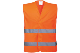 Portwest Unisex High Visibility Two Band Safety Work Vest (Pack of 2) (Orange) (4XL5)
