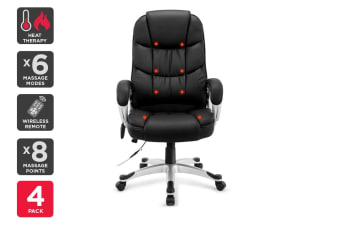 4 Pack Ergolux Haymana 8 Point Heated Vibrating Massage Office Chair