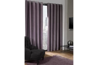 Logan Blackout Plain Thermal Curtains With Eyelets (Aubergine) (46in x 72in (117cm x 183cm))