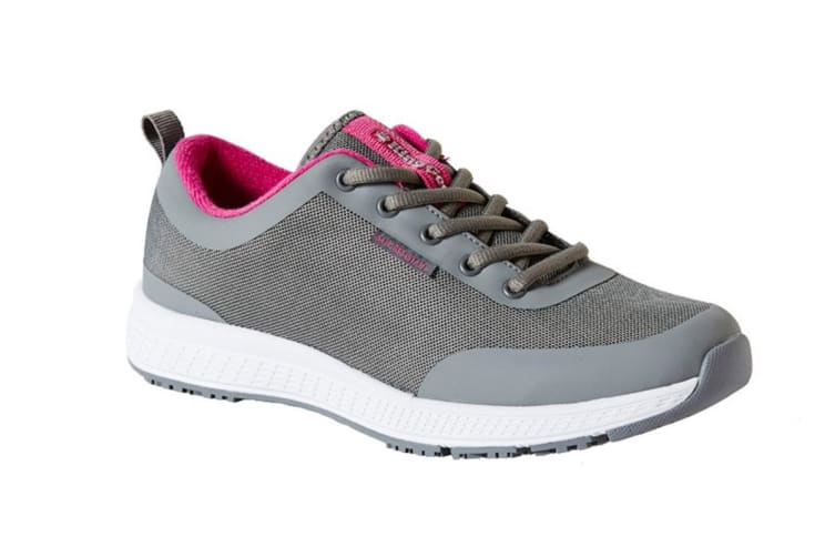 King Gee Women's Superlite Mesh Lace Shoe (Grey, Size 4)