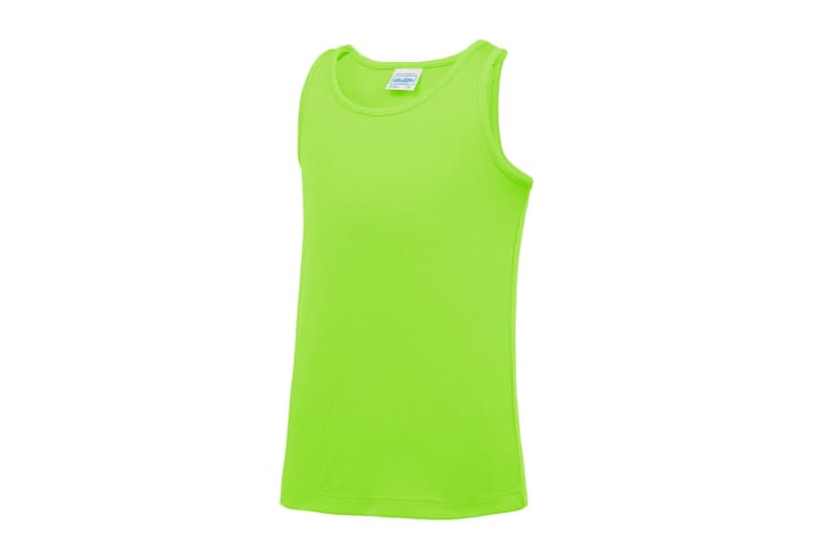 AWDis Just Cool Childrens/Kids Plain Sleeveless Vest Top (Electric Green) (12-13 Years)