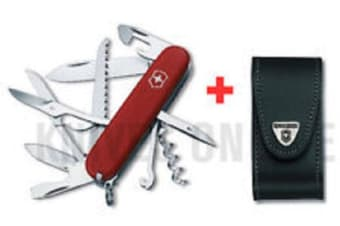 SWISS ARMY KNIFE SWISS EXPLORER and BLACK LEATHER BELT POUCH GENUINE VICTORINOX