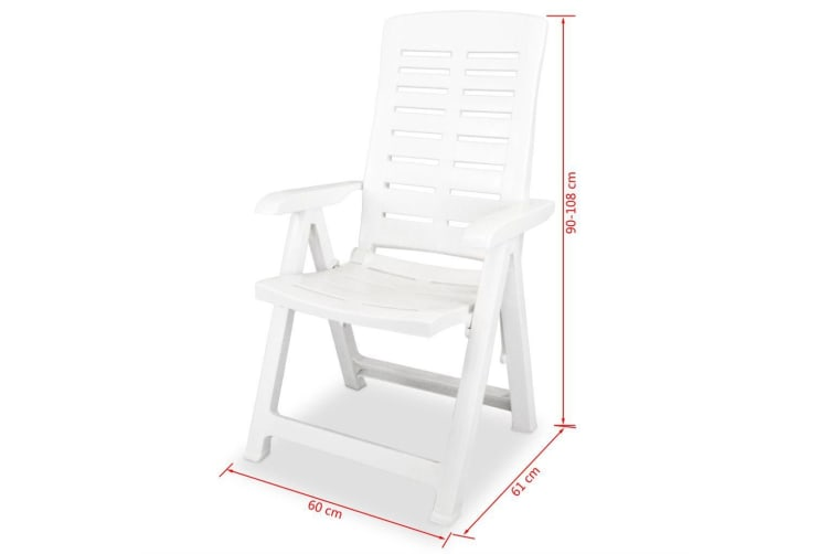 vidaXL Reclining Garden Chairs 2 pcs Plastic White
