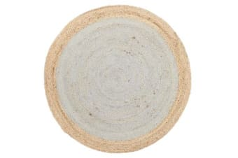 Round Jute Natural Rug Silver Blue 150x150cm