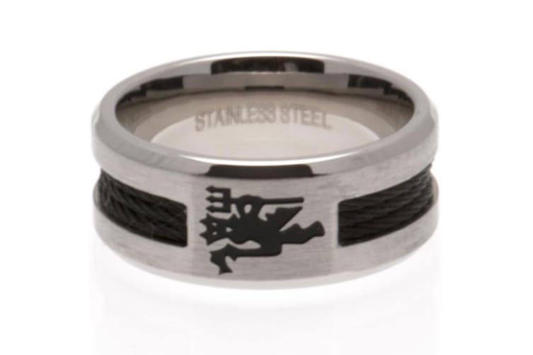 Manchester United FC Small Black Inlay Ring (Silver) (One Size)